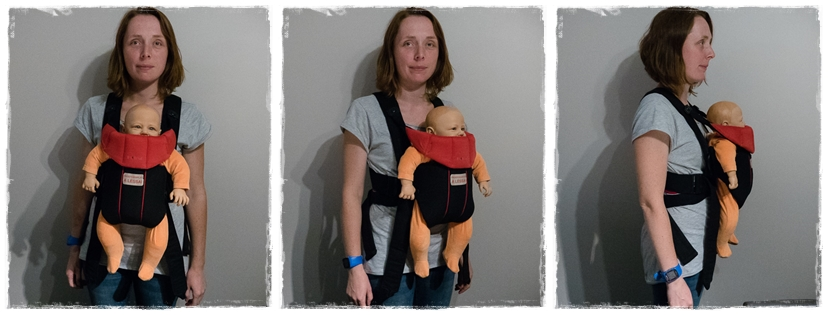 Porte-bébé non-physiologique (vers l'exterieur)
